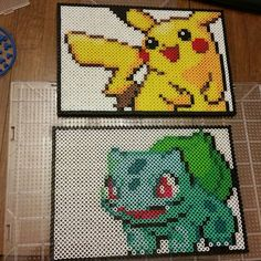 Pikachu and Bulbasaur  - Pokemon perler beads by Three Point One Four Creations