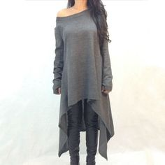 Check out one of our new  Deep Grey Long Sl..., Just in and ready to order @ http://scooterbug-designs.myshopify.com/products/deep-grey-long-sleeve-asymmetrical-knit-dress-plus-size?utm_campaign=social_autopilot&utm_source=pin&utm_medium=pin