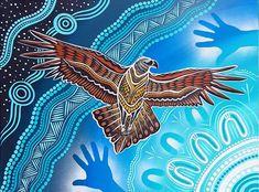 """Into the Night Sky"" Bunjil the Wedge tailed Eagle soaring into the Stars. Aboriginal Art Animals, Aboriginal Dot Art, Aboriginal Painting, Aboriginal Culture, Eagle Painting, Dot Art Painting, Watercolor Artwork, Indigenous Australian Art, Indigenous Art"