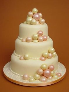 White chocolate cake with white chocolate balls  dyed chamapgne colours.