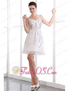 White A-line Straps Short Prom Dress Organza Sequins Mini-length- $127.49  http://www.fashionos.com  discount prom dress | custom made prom formal dress | elegant prom graduation dress | junior prom party dress | sexy prom evening dress | 2014 prom dress | cheap taylor swift prom cocktail dress | plus size hollywood prom homecoming dress | prom dress inspired by natalie portman at the black swan | free shipping short prom dress |