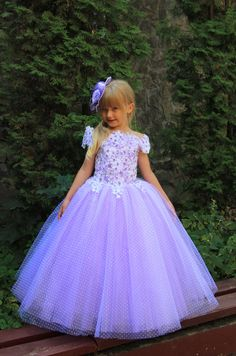 Lavender Fuchsia White Aquamarine Blue Pink Flower Girl Dress