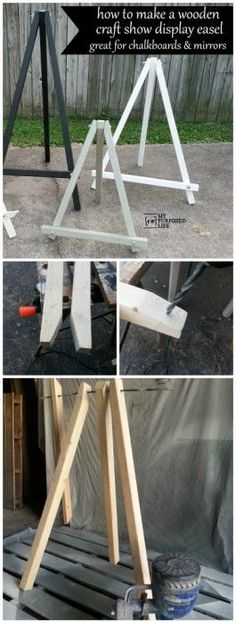 My Repurposed Life How to make a diy easel for craft shows, chalkboards, mirrors and more.