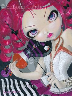 Kiss My Violin Simona Candini SIGNED PRINT Fairy Fantasy Gothic Emo Lowbrow Big Eye Art Cute pink hair girl. Available on Etsy.