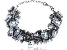 Chunky Sparkle Large Crystal Acrylic Rhinestone Bead Chain Link Fashion Bracelet [US Stock]