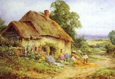 Henry John Sylvester Stannard: The Thatcher Chocolate Box, Beautiful Paintings, Great Britain, Cottages, Art Gallery, British, England, Van, Sweet