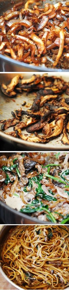 Creamy mushroom pasta with caramelized onions and spinach. Vegetarian pasta recipe.