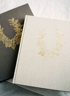 HEIRLOOM BINDERY Fine Art Albums, Books & Presentation for Fine Art Film Photographers | Hand Made Albums in the Old Tradition | Golden Embossed Rose Wreath on Dark Brown & Natural Linens