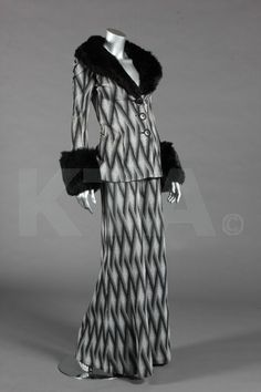A Biba zig-zag tapestry weave jersey trouser suit, circa 1973.