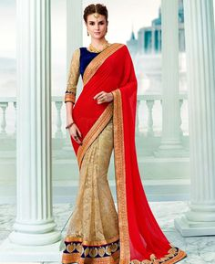 Buy Sublime Red & Cream Georgette Sarees online at  https://www.a1designerwear.com/sublime-red-cream-georgette-sarees  Price: $60.38 USD