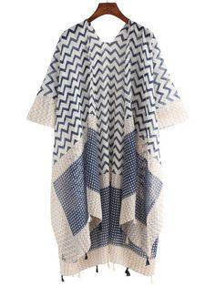 Geo Print Tassel Trimmed Kimono