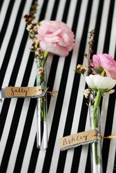 DIY Floral Glass Vial Place Cards