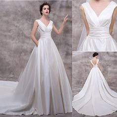 Vantage V-neck Sleeveless Long A-line Popular White Satin Wedding Dresses, WD0165 The wedding dresses are fully lined, 4 bones in the bodice, chest pad in the bust, lace up back or zipper back are all