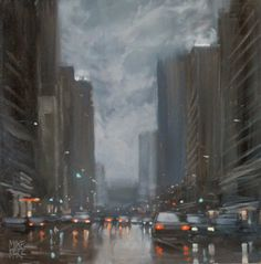 Flinders Street Showers - oil painting by Mike Barr. 30x30cm oil on board.