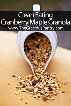 Just as good as the 100 days recipe, without the 6tbsp of butter! :) left out berries, added coconut and a little honey. Recipe: Clean Eating Cranberry Maple Granola