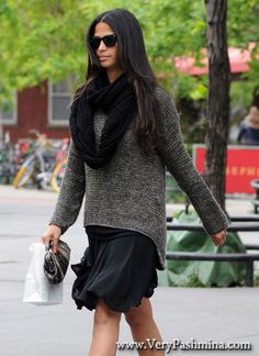 #CamilaAlves Wears Black Infinity #Scarf To The Pharmacy