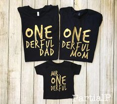 Match your little Mr. ONEderful at your baby boys first birthday. Pictured: gold font on a black t-shirt. Shirt and font colors can always be changed to match your babys shirt, just message me! **Listing is for one adult shirt only, please see this listing for the matching Mr. ONEderful