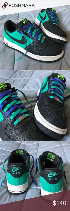 💜Nike Godzilla AF1🖤 Size 10.5, gently used, & very well taken care of!! Purple, teal, Black, Gray, & white in color. These are very nice!! Shoe laces are reversible to purple or teal. Nike Shoes