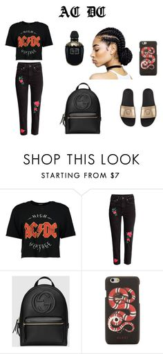 ac dc by kevser- on Polyvore featuring Boohoo, Gucci, Alexander McQueen and Versace