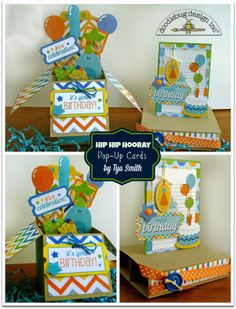 Hip Hip Hooray for Pop -Up Cards and Doodlebug Design!  This Pop-Up Box card and Freestanding Pop-Up card were created by Tya Smith :)