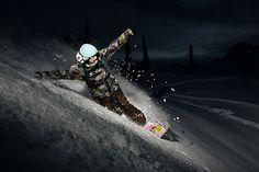 Night slash by Rhys Logan  Snowboarding
