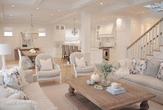 neutral living room hamptons style restoration hardware traditional home open concept white kitchen neutral decor ballard designs dayna chairs trestle table ro sham beaux chandelier Coastal Living Rooms, Interior Design Living Room, Home And Living, Living Room Designs, Small Living, Living Room Decor Styles, Cozy Living, Interior Paint, Modern Living