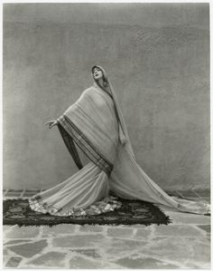 """Ruth St. Denis in her solo Tagore Poem (1929). Thom Hecht writes, """"St. Denis's repertoire reflects her life-long interest in exoticism and spirituality."""" (Photo by Soichi Sunami. The New York Public Library for the Performing Arts, Dance Division.)"""