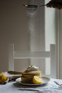 Meyer Lemon Ricotta Pancakes, with Chamomile Whip