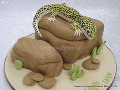 Leopard gecko cake and rocks http://www.cakescrazy.co.uk/details/gecko-on-rock-cake-9314.html