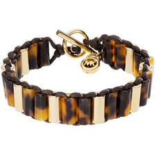 MICHAEL KORS Brown Golden Bracelet With Tortoise Design And Leather Detail