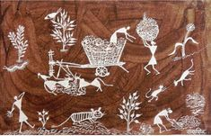 Sadashiv Mashe is a renowned painter within the realm of Warli art. This work contains familiar motifs in his distinct depictive style. He instills a sense of trepidation here through the figures and the specific way they have been portrayed. The cart is tied and the bullocks are enjoying fodder while the human activities surround them along with the other four-legged are loiteringor trying to hide themselves.  www.gallerymustart.com www.singinawajunglelodge.com Four Legged, Cart, Art Gallery, Activities, Embroidery, Style, Art Museum, Needlepoint, Stylus