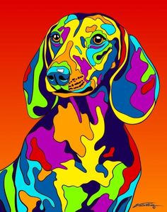 Hand painted and printed in USA by the artist Michael Vistia. Dog Breed: The dachshund is a short-legged, long-bodied, hound-type dog breed. Arte Pop, Dachshund Art, Daschund, Dachshund Puppies, Lab Puppies, Dalmatian Dogs, Art Abstrait, Dog Portraits, Art Plastique