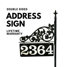 Personalized Address Sign - Reflective Double Sided, Gift for mom, Steel Pole & Scroll with Finial Top Address Signs For Yard, House Address Sign, Address Numbers, Address Plaque, Perfect Gift For Mom, Gifts For Mom, Mailbox Makeover, Emergency Responder, Plants