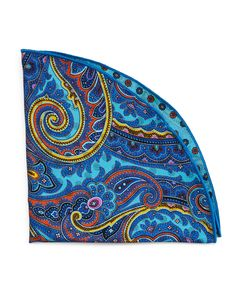Paisley Silk Pocket Circle, Aqua (Blue) - Edward Armah