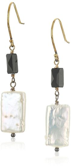 Gold over Silver White Rectangle Freshwater Cultured Pearl and Rectangle Black Onyx Drop Earrings >>> Visit the image link more details. (This is an Amazon Affiliate link)