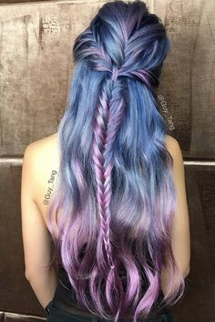 70 Tempting and Attractive Purple Hair Looks , Violet Hair Color With Fishtail Braids ❤️ When you think about purple hair, you might love the look but hesitate if it fits your features. Violet Hair Colors, Purple Hair, Ombre Hair, Purple Streaks, Pastel Colours, Hair Colours, Pastel Purple, Purple Ombre, Coloured Hair