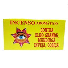 http://www.maniasemanias.com/produto/defumador-contra-olho-grande-mandinga-inveja-cobica - DEFUMADOR – CONTRA OLHO GRANDE MANDINGA INVEJA, COBIÇA - Os defumadores funcionam através do odor e fumo que se desprendem durante a sua queima, propiciando  a energia a que cada um se destina. - Função: contra olho grande, mandinga, inveja e cobiça - Embalagem: caixa contendo 14 cones