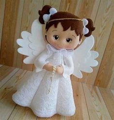 Clear Christmas Ornaments, Felt Ornaments, Christmas Decorations, Pretty Dolls, Beautiful Dolls, Felt Crafts, Holiday Crafts, Fleece Crafts, Felt Hair Accessories