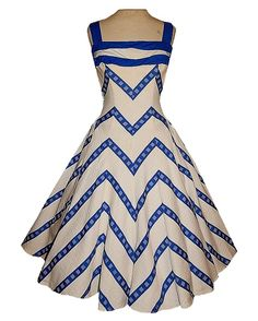 Vintage 50's Novelty Chevron STRIPED Textured Cotton Bombshell Party Dress