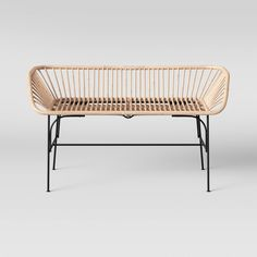 WANT - Rattan Bench for the home or office. Bench Furniture, Furniture Layout, Modern Furniture, Outdoor Furniture, Garden Furniture, Metal Furniture, Oriental Furniture, Furniture Storage, Kids Furniture
