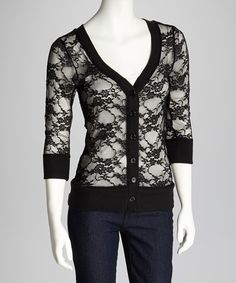 Another great find on #zulily! Black Lace Cardigan #zulilyfinds