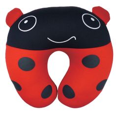 Kids Ladybird Neck Pillow - Fun loving Ladybird neck pillow for children 6 months +. Perfect to support the child's head for a more peaceful sleep, ideal for car and plane journeys. The curved design gives maximum support and moulds to the shape for the neck. Filled with soft micro beads, it feels soft and comforting