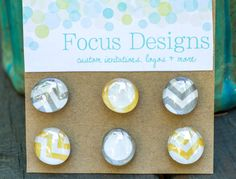 Handmade Glass Magnets  Yellow and Grey Chevron by focusdesigns, $7.00