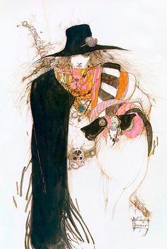 Vampire Hunter D created by Hideyuki Kikuchi. Illustration by Yoshitaka Amano Vampire Hunter D, Vampires, Yoshitaka Amano, Japanese Artists, Cute Art, Amazing Art, Fantasy Art, Final Fantasy, Concept Art