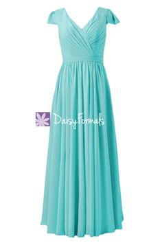 Long Modest Bridesmaid Dress Online V Neckline Tiffany Blue Dress W Cap  Sleeves (BM5192L. DaisyFormals-Bridesmaid and Formal Dresses in 59+ Colors 32e2079fe