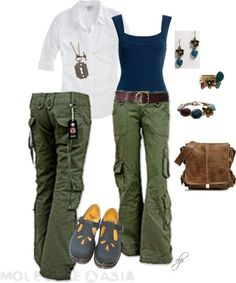 I love cargo pants - pockets are practical & fun. I like a slight flair to the leg, casual drape. (Most are either way too baggy or too skinny & tight.) Great for travel!