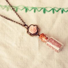 Tiny Bottle Necklace with Pink German Glass by DearDelilahHandmade