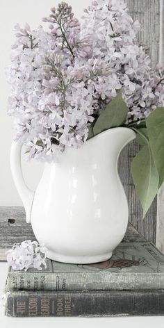 Ironstone pitcher with flowers