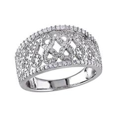 Women's Amour SHB000342 Diamond Pave Silver Infinity Ring - White... (360 AUD) ❤ liked on Polyvore featuring jewelry, rings, pave diamond ring, silver rings, cocktail jewelry, polish jewelry and evening jewelry