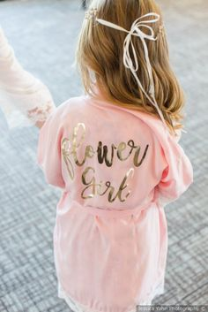 Jessica and Brett's Wedding in Camdenton, Missouri Jessica and Brett's Wedding in Camdenton, Missouri,Flower Girl & Ring Bearer Blush pink flower girl robe + gold writing – flower girl attire {Jessica Yahn Photography} Related. Cute Wedding Ideas, Wedding Goals, Gifts For Wedding Party, Perfect Wedding, Dream Wedding, Wedding Day, Wedding Inspiration, Wedding Blush, Pink And Gold Wedding